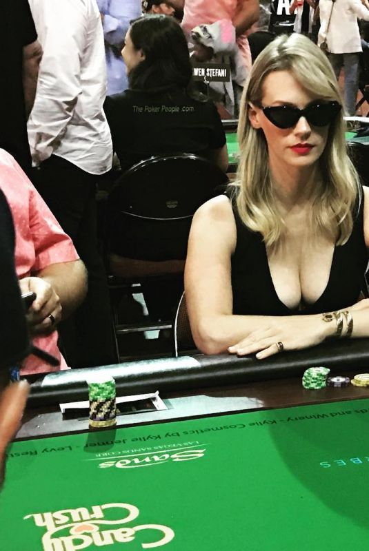 JANUARY JONES Playing Poker 07/29/2018 Instagram Picture