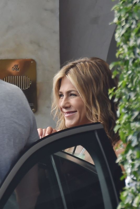 JENNIFER ANISTON Leaves Her Hotel in Santa Margherita Ligure 07/27/2018