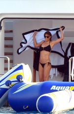 JENNIFER FLANVIN and SOPHIA, SISTINE and SCARLET STALLONE in Bikinis at a Yacht in Saint Tropez 07/10/2018