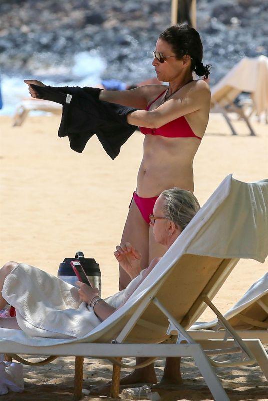 JULIA LOUIS-DREYFUS in Red Bikini on the Beach in Lanai 07/10/2018