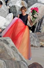 JULIA ROBERTS on the Set of a Photoshoot on the Beach in Malibu 07/20/2018