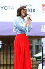 KATHARINE MCPHEE Rehearsing for Broadway in the Park at Bryant Park in New York 07/12/2018