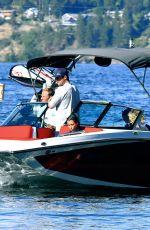 KIM KARDASHIAN at a Boat Ride on a Lake in Idaho 07/06/2018