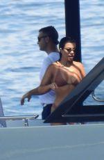 KOURTNEY KARDASHIAN in Bikini on a Yacht in Portofino 07/08/2018