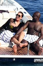 KRIS JENNER and Corey Gamble at a Boat in Positano 07/15/2018