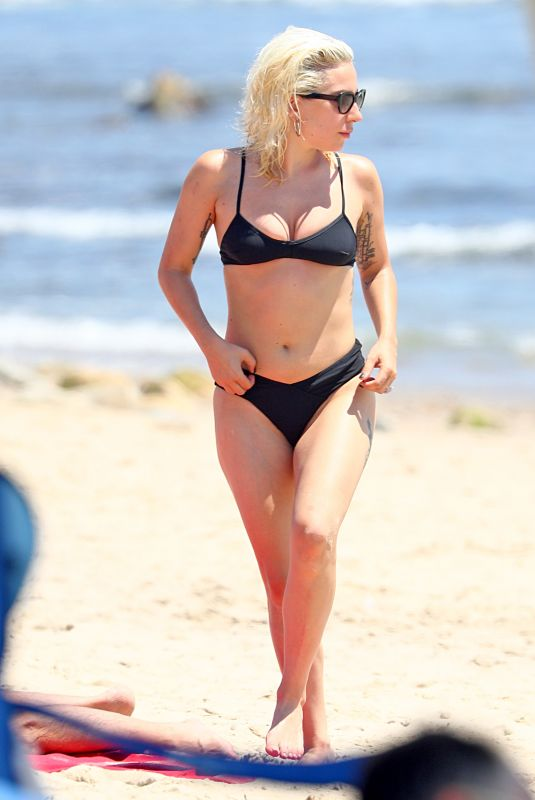 LADY GAGA in Bikini on the Beach in Hamptons 07/01/2018