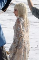 LADY GAGA on the Set of a Photoshoot at a Beach in Malibu 07/25/2018