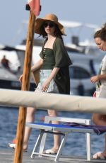 LILY COLLINS Arrives at Ischia Global Festival in Ischia Porto 07/14/2018