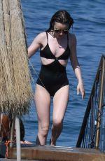 LILY COLLINS inSwimsuit at Hotel Regina Isabella in Ischia Porto 07/15/2018