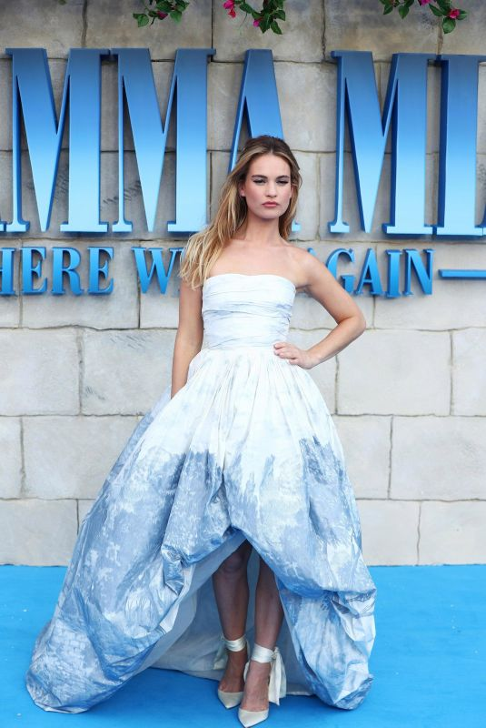 LILY JAMES at Mamma Mia Here We Go Again Premiere in London 07/16/2018