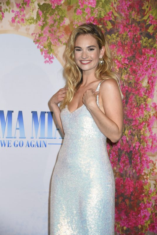 LILY JAMES at Mamma Mia! Here We Go Again VIP Premiere in sStockholm 07/11/2018
