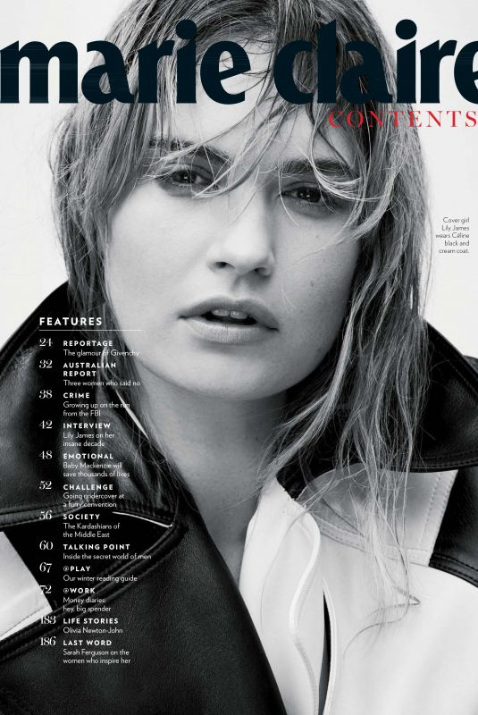 LILY JAMES for Marie Claire, Australia August 2018