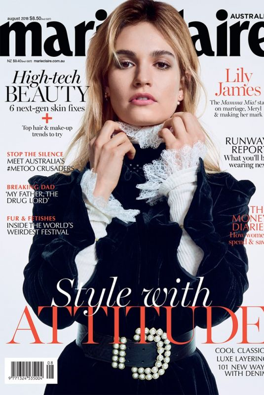 LILY JAMES in Marie Claire Magazine, Australia August 2018 Issue