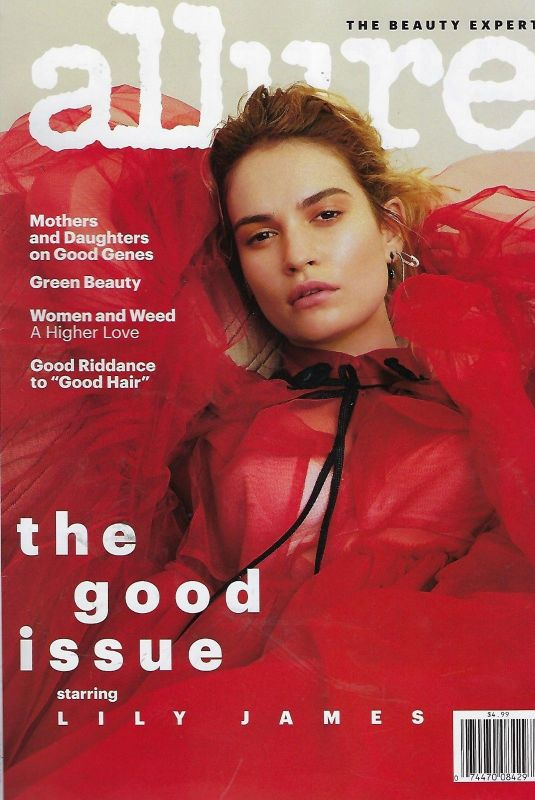LILY JAMES on the Cover of Allure Magazine, August 2018 Issue