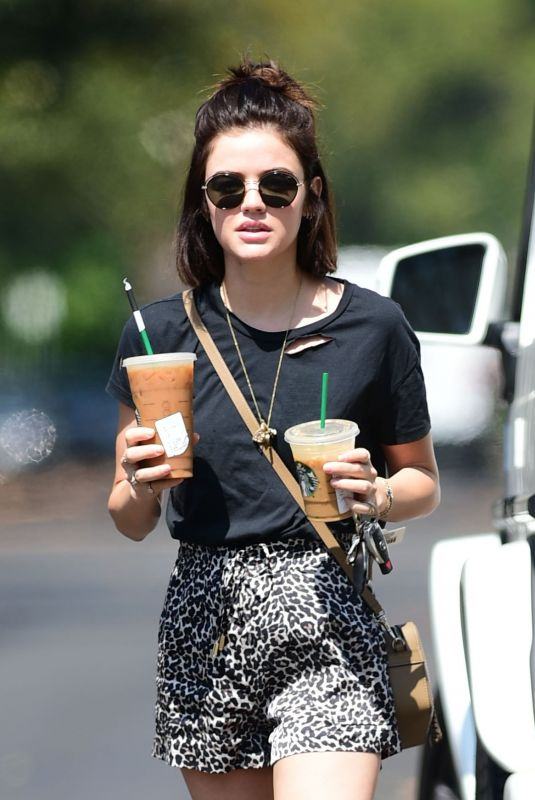 LUCY HALE in Shorts at Starbucks in Studio City 07/19/2018