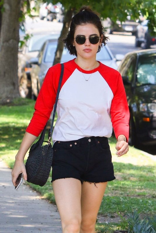 LUCY HALE Out for Lunch at Aroma Coffee and Tea in Studio City 07/26/2018