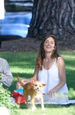MINKA KELLY with Her Dog at a Park in Beverly Hills 07/17/2018