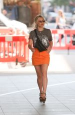 MOLLIE KING in Orange Denim Skirt Out in London 07/06/2018