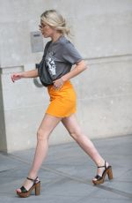 MOLLIE KING in Orange Denim Skirt Out in London 07/06/2018