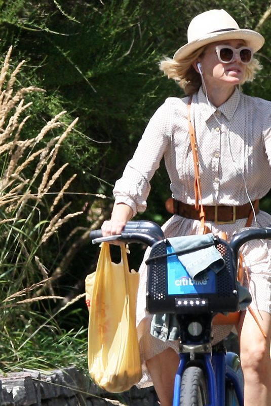 NAOMI WATTS Out Riding a Citi Bike in New York