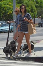 NINA DOBREV Out with Her Dog in Los Angeles 07/01/2018