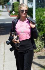 PARIS HILTON Out with Her Dog in Los Angeles 06/30/2018