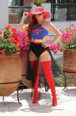 PHOEBE PRICE in Superwoman Costume Out in Beverly Hills 07/16/2018