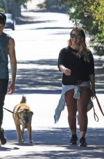 Pregnant HILARY DUFF and Matthew Koma Out with Their Dog in Los Angeles 07/16/2018