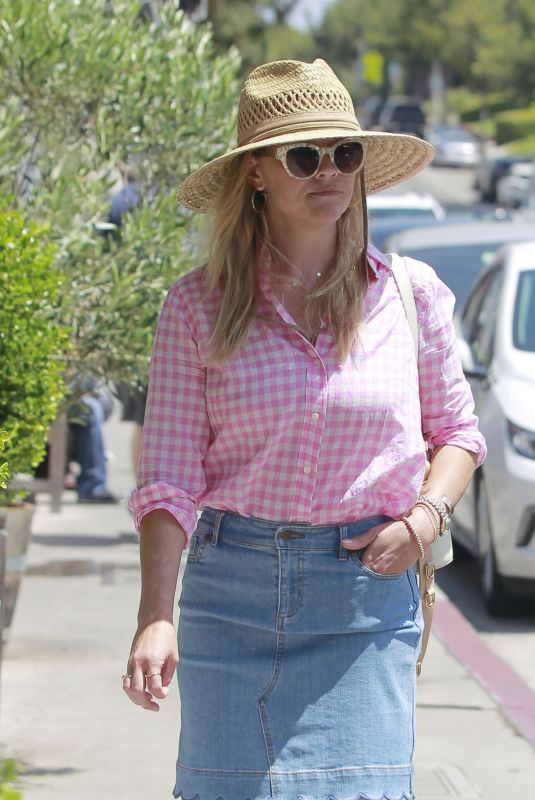 REESE WITHERSPOON in Denim Skirt Out in Brentwood 07/19/2018