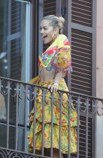 RITA ORA on the Balcony of Her Hotel in Barcelona 07/20/2018
