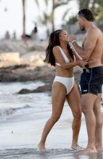 SARAH JANE CRAWFORD in Bikini and Joe Joyce on the Beach in Ibiza 07/01/2018
