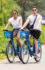 SOPHIE TURNER, PRIYANA CHOPRA with Jonas Brothers Riding CitiBikes Out in New York 07/05/2018
