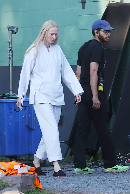TILDA SWINTON on the Set of The Dead Don't Die in New York 07/26/2018