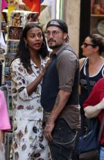 ZOE SALDANA and Marco Perego Out Shopping in Rome 07/13/2018