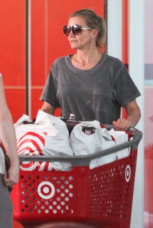 CAMERON DIAZ Shopping at Target in Los Angeles 08/21/2018