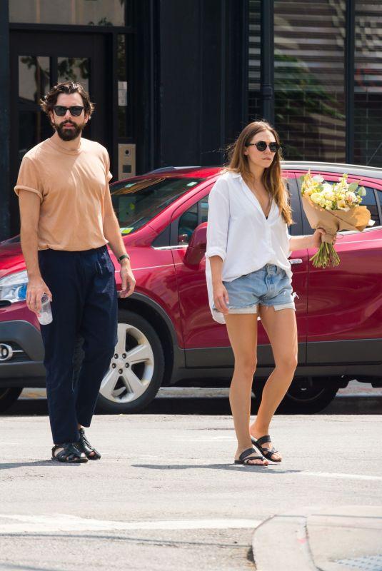 ELIZABETH OLSEN and Robbie Arnett Out in New York 08/26/2018