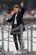 EMMA GREENWELL on the Set of The Rook in London 08/14/2018
