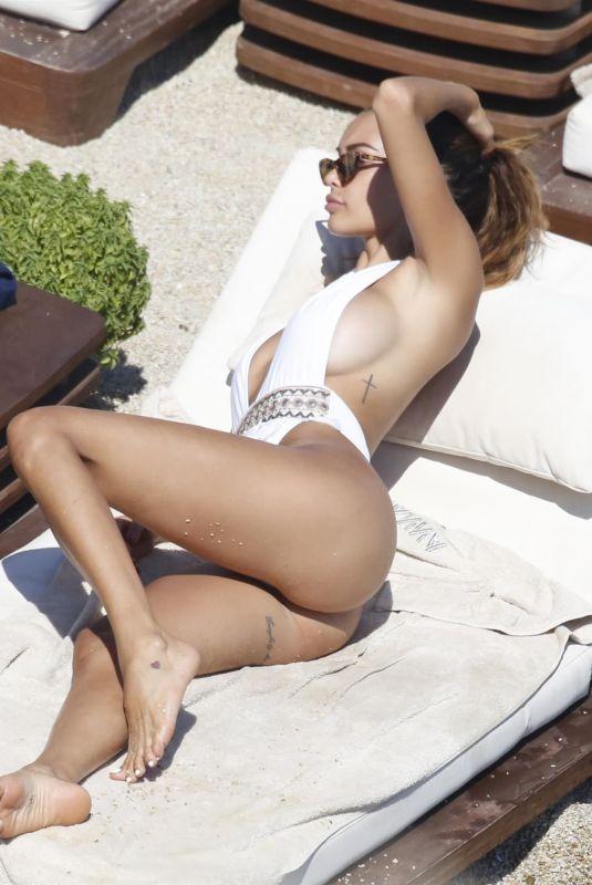 NABILLA BENATTIA in Swimsuit on the Beach in Mykonos 08/21/2018