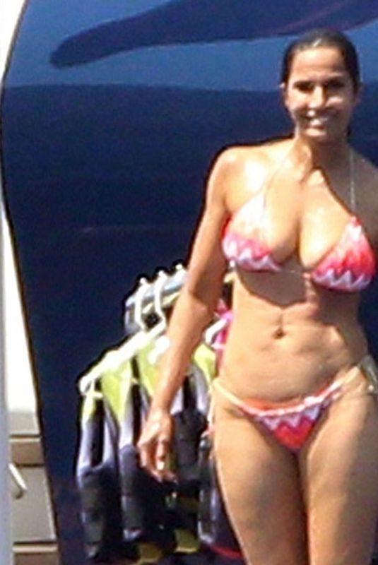 PADMA LAKSHMI in Bikini at a Yacht in Capri 08/01/2018