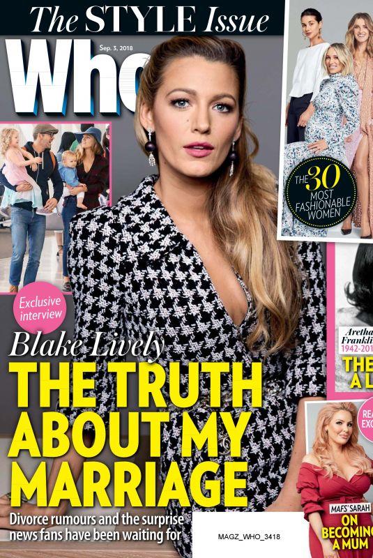 BLAKE LIVELY in Who Magazine, September 2018