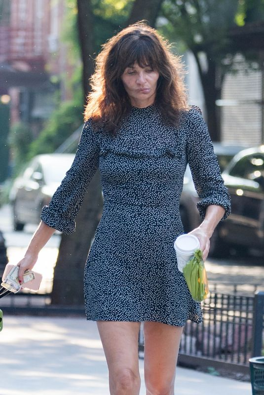 HELENA CHRISTENSEN Out with Her Dog in New York 09/03/2018