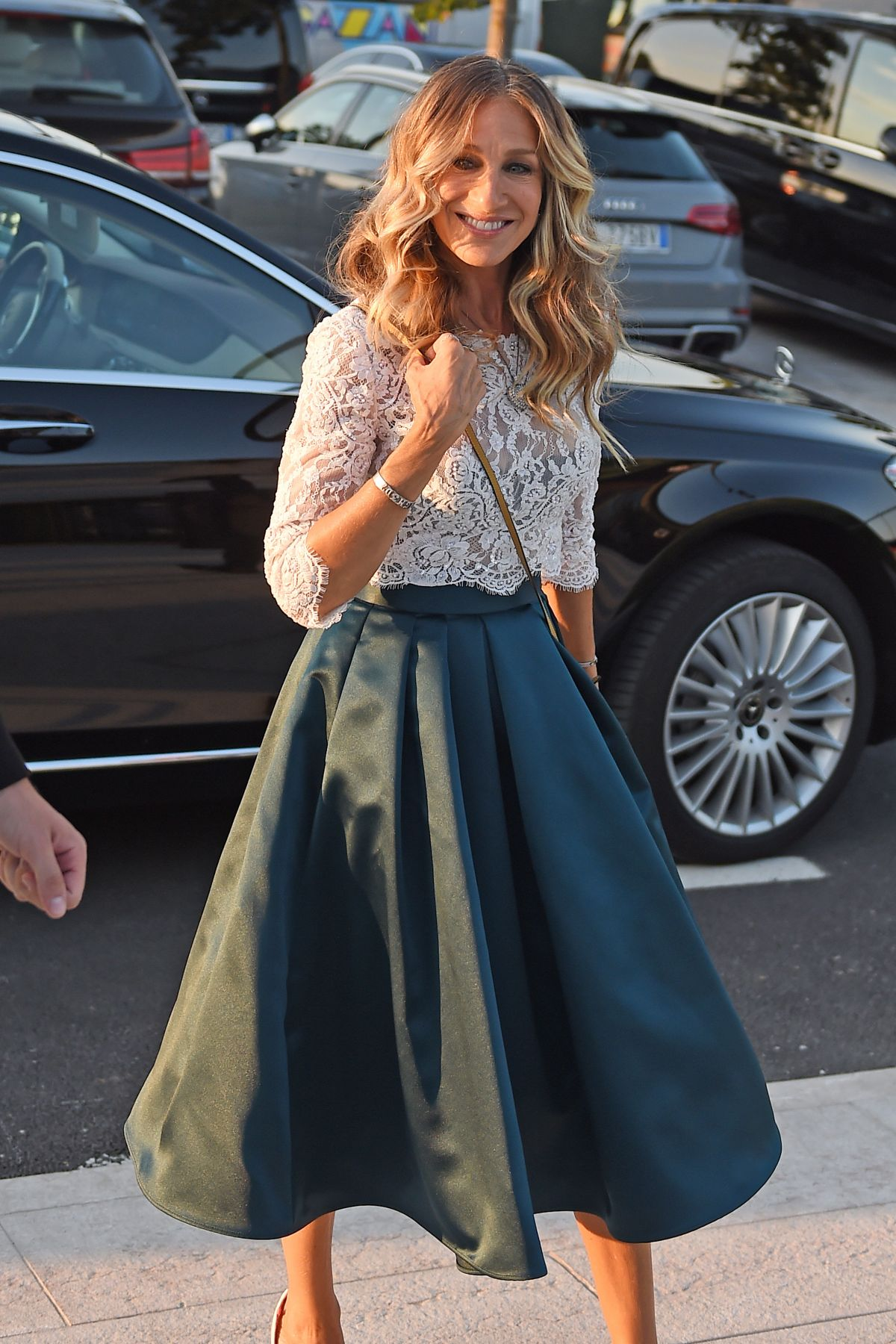Sarah Jessica Parker Wears Ruffles, Satin, and Lace for