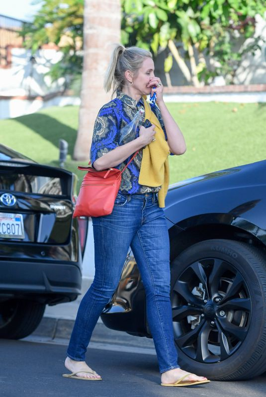 CAMERON DIAZ Leaves a Party in Long Beach 10/06/2018