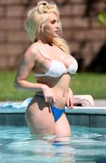 COURTNEY STODDEN in Bikini at a Pool in Palm Springs 10/08//2018