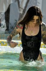 DARYLLE SARGEANT in Swimsuit at a Pool in Ibiza 10/22/2018