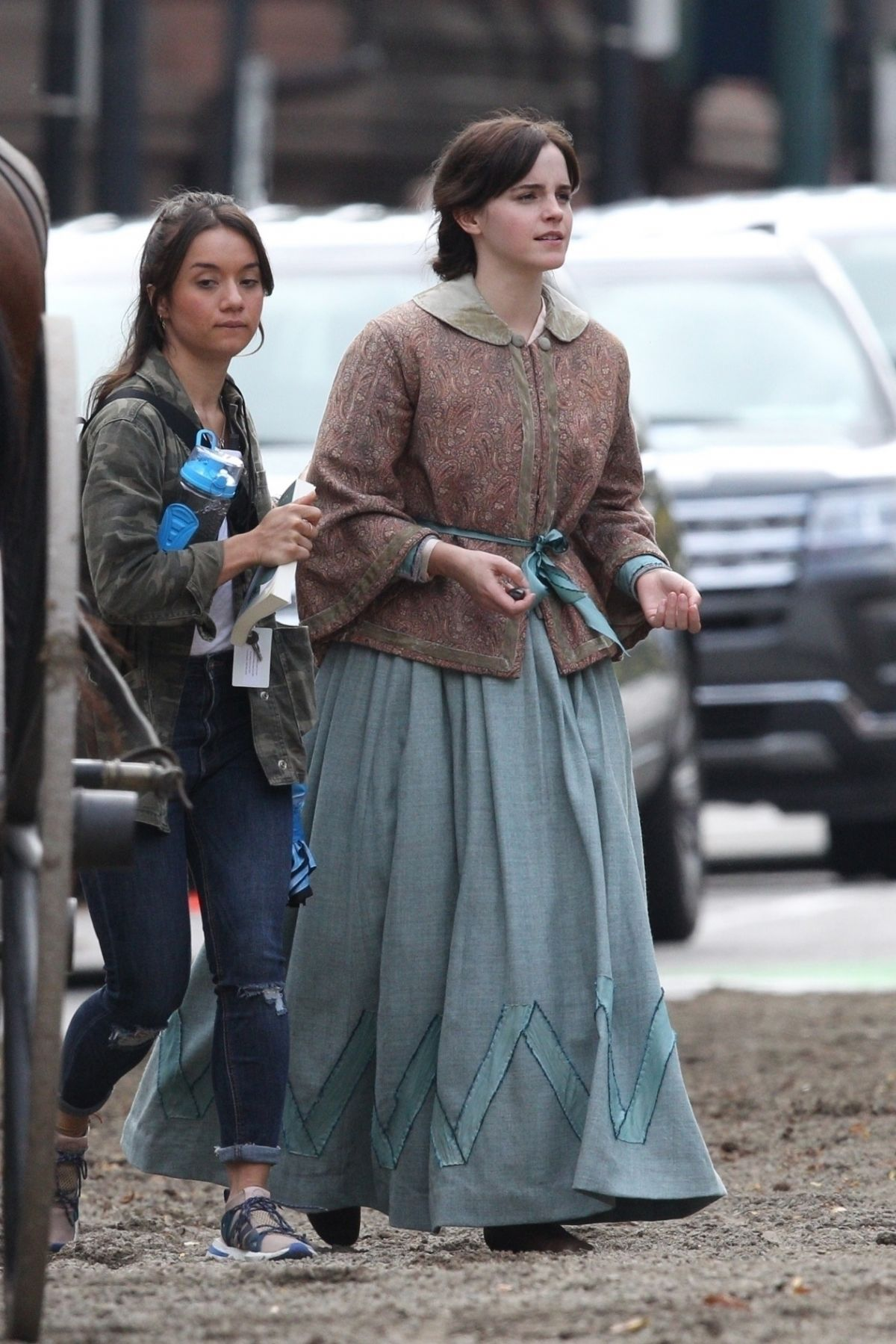 EMMA WATSON on the Set of Little Women in Boston 10/08