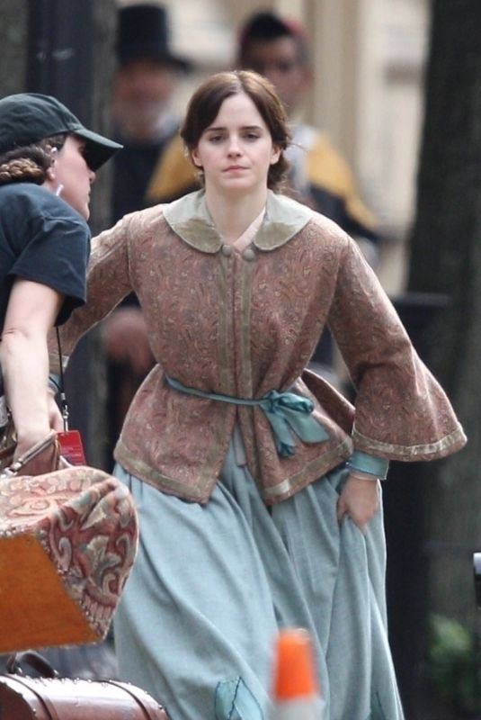 EMMA WATSON on the Set of Little Women in Boston 10/08/2018