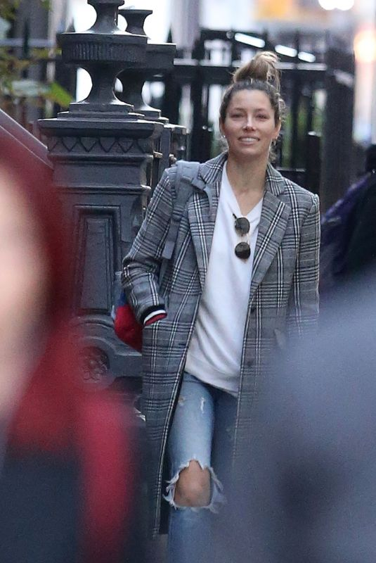 JESSICA BIEL in Ripped Jeans Out in New York 10/23/2018