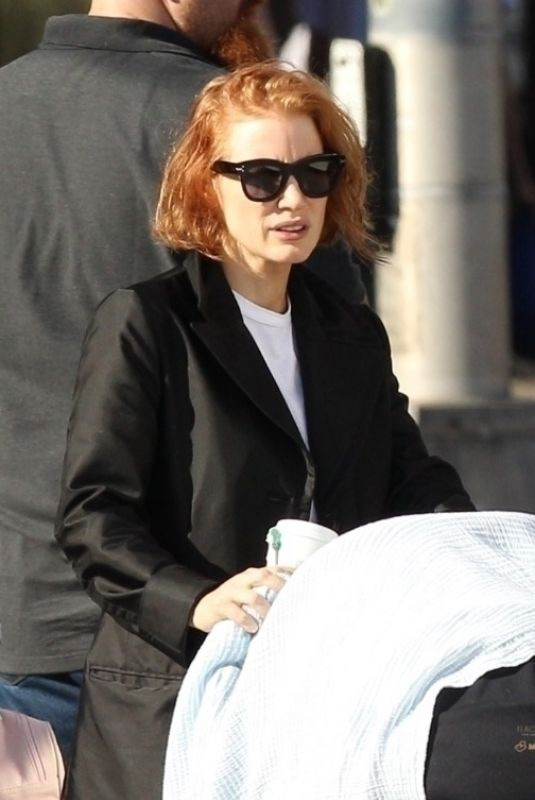 JESSICA CHASTAIN on the Set of Eve in Boston 10/12/2018