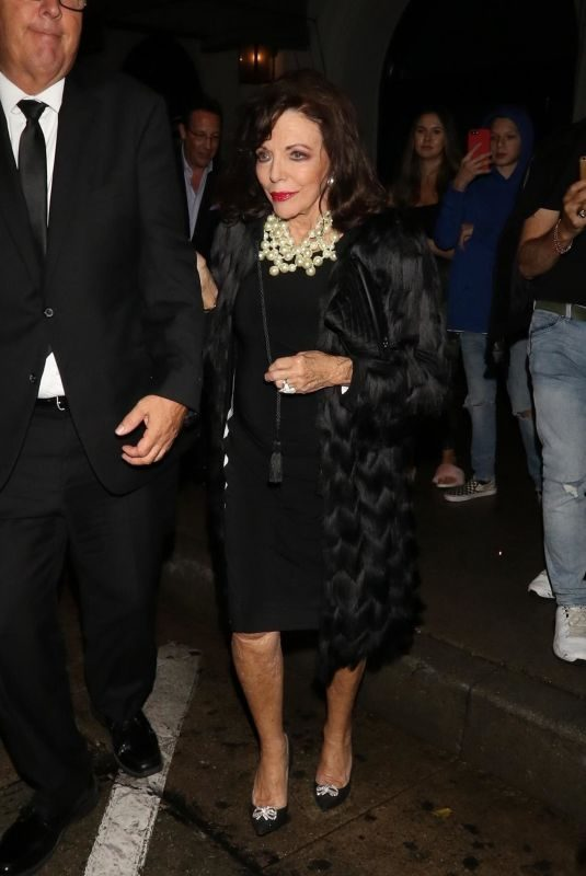 JOAN COLLINS at Craig's Restaurant in West Hollywood 10/12/2018